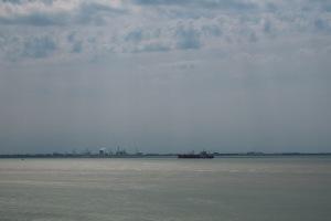 Westerschelde vanaf de Zeedijk bij Borssele, met Dow Chemicals op de achtergrond