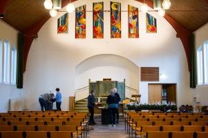 De Barbesteinkerk waar de schikkingen worden voorbereid