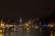 Amstel met de Munttoren op de achtergrond